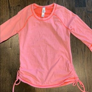 Coral striped long sleeve top